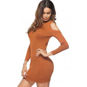 Cold Shoulder Mini Knit Bodycon Dress -