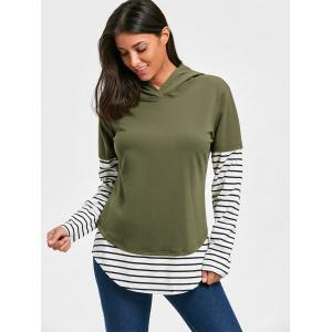 Hooded Striped Long Sleeve Tunic Top -