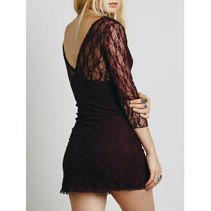 Lace Plunge Backless Fitted Dress - Rouge Foncé XL