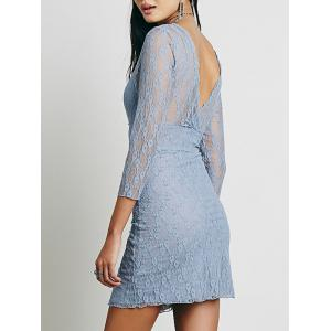 Lace Plunge Backless Fitted Dress - Nuageux XL