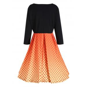 Plus Size  Pumpkin Face Vintage Halloween Party Dress -