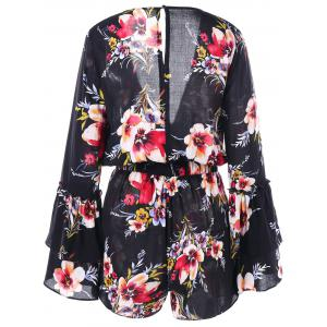 Floral Surplice Neck Flare Sleeve Romper -