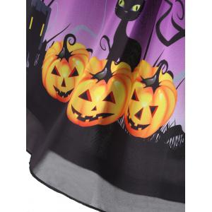 Plus Size Halloween Pumpkin Print Sleeveless Dress -
