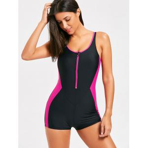 Sporty Half Zip Racerback Swimsuit -