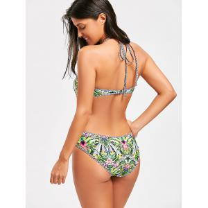 One Piece Halter Tropical Print Swimsuit -