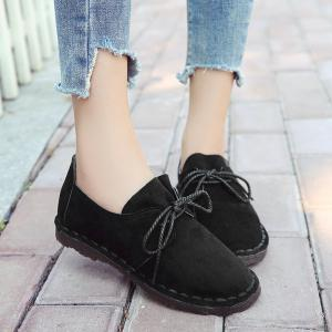 Whipstitch Faux Suede Lace Up Flat Shoes -