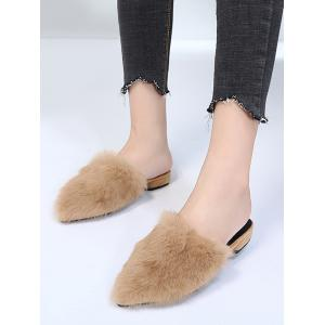 Pointed Toe Low Heel Faux Fur Slippers -