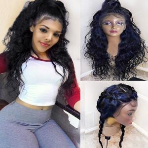 Long Free Part Fluffy Natural Wavy Lace Front Synthetic Wig -