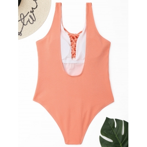Lace-up Textured One Piece Swimsuit -