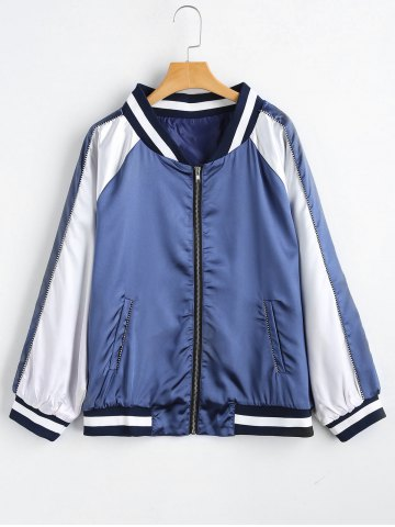 Chic Plus Size Striped Zip Up Baseball Jacket - 2XL AZURE Mobile