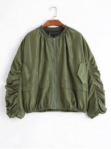 Latest Puff Sleeve Plus Size Zip Up Jacket ARMY GREEN 2XL