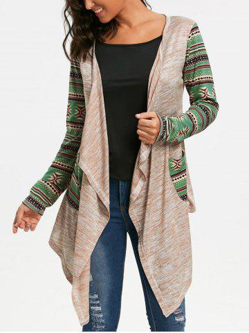 Fashion Geometric Print Long Sleeve Draped Cardigan OFF-WHITE S