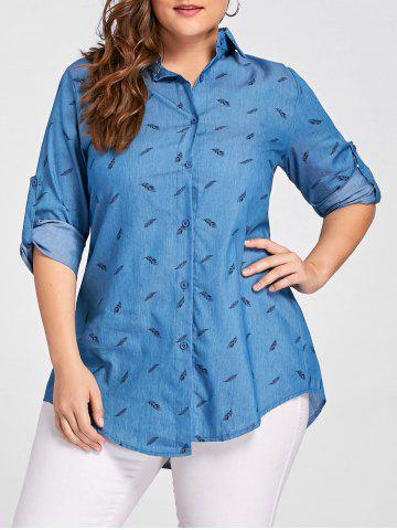 Fashion Plus Size Feather Printed Button Denim Shirt BLUE 5XL