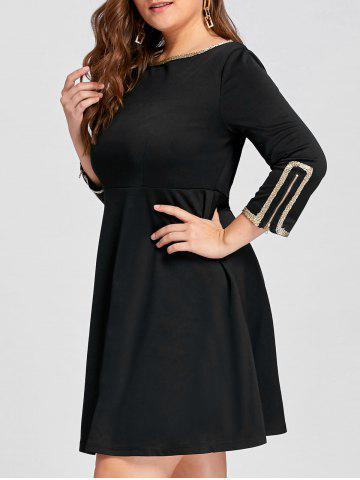 Trendy Plus Size Metal Embellished Mini Skater Dress - 4XL BLACK Mobile