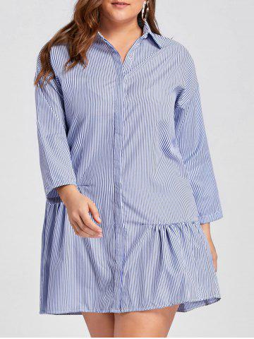 New Plus Size Drop Waist Stripe Button Up Dress - 2XL BLUE Mobile