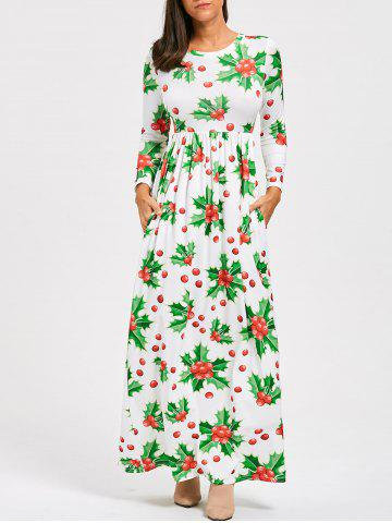 Fancy Christmas Berries Print A Line Maxi Dress - L GREEN Mobile