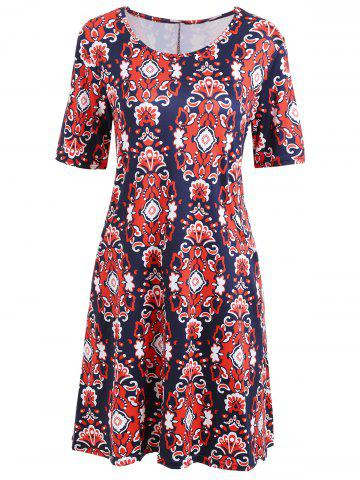 Tribal Print Mini Swing T-shirt  Dress