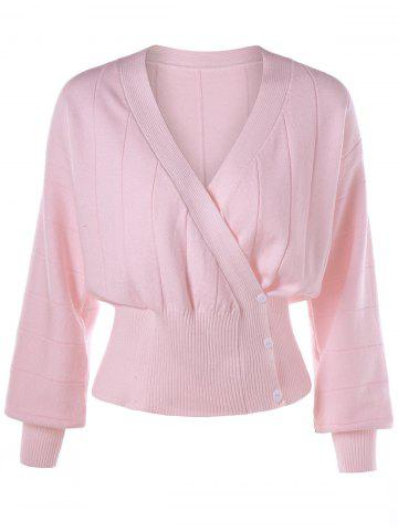 Pink M Ribbed Button Up Sweater | RoseGal.com