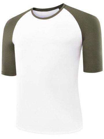 Shops Two Tone Half Sleeve Raglan Tee ARMY GREEN 2XL