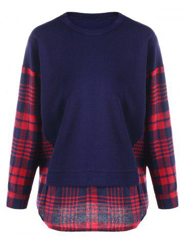 Shops Plus Size Plaid Panel Curved Sweatshirt