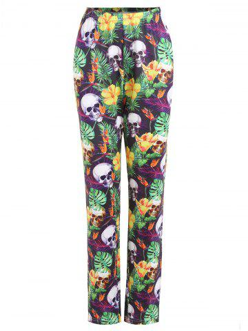 Trendy Plus Size Halloween Skull Flower Printed Pants