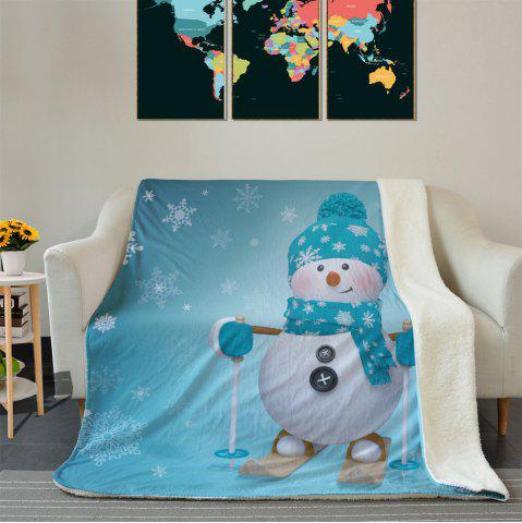 Sale Christmas Snowman Pattern Soft Fleece Thermal Blanket - W39.4 INCH * L59.1 INCH TURQUOISE Mobile