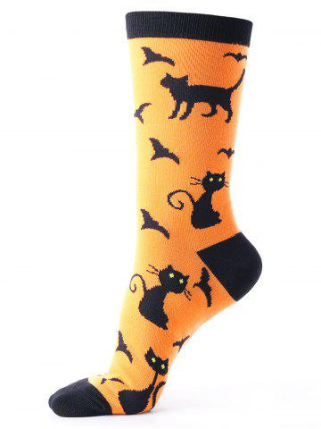 Fancy Halloween Calf Socks with Cats Bats Pattern