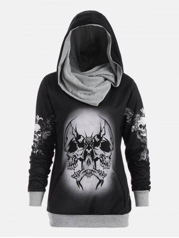 Unique Halloween Skull and Wings Print Hoodie - M GRAY Mobile