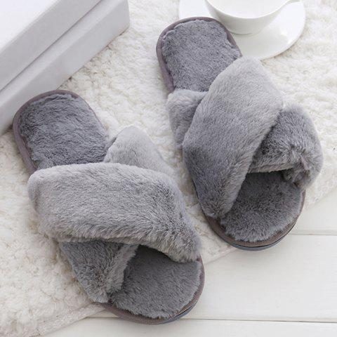 New Open Toe Faux Fur Cross Strap Slippers - SIZE(40-41) GRAY Mobile