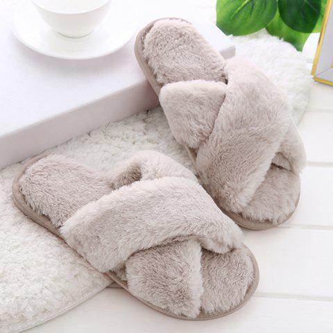 Unique Open Toe Faux Fur Cross Strap Slippers PINK SIZE(36-37)