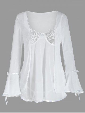New Mesh Cami Babydoll with Flare Sleeve Cover Up