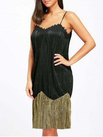 Chic Two Tone Pleated Slip Sleep Dress - XL BLACK Mobile