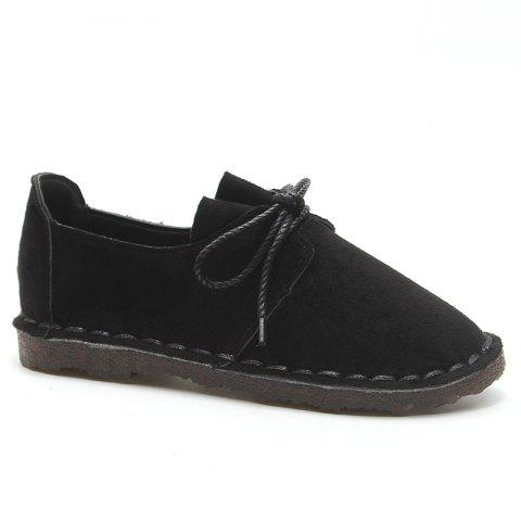 Whipstitch Faux Suede Lace Up Flat Shoes
