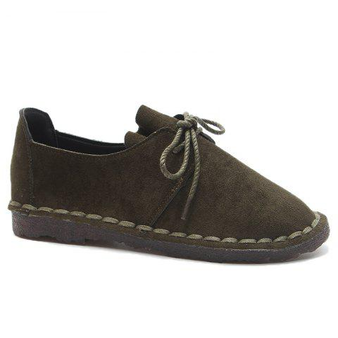Whipstitch Faux Suede Lace Up Flat Shoes Vert 40
