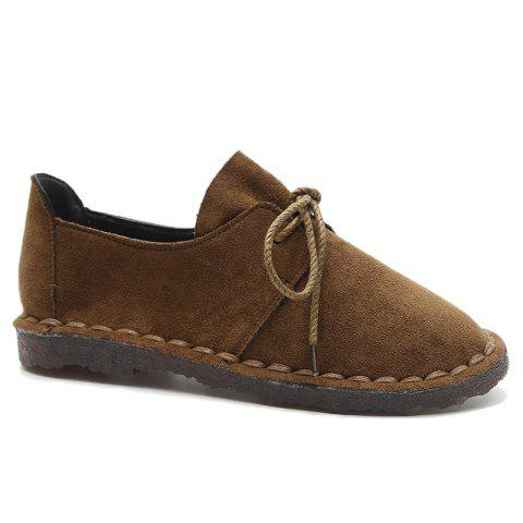 Trendy Whipstitch Faux Suede Lace Up Flat Shoes COFFEE 39