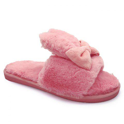 Online Rabbit Ear Non-slip Faux Fur Slippers - SIZE(36-37) WATERMELON RED Mobile