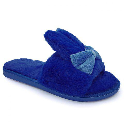 Discount Rabbit Ear Non-slip Faux Fur Slippers - SIZE(36-37) BLUE Mobile