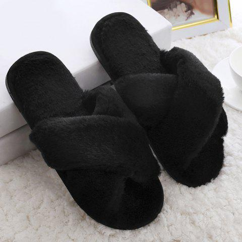 Fashion Open Toe Faux Fur Cross Strap Slippers