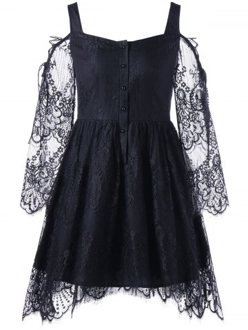 Best Halloween Eyelash Lace Cold Shoulder Dress - M BLACK Mobile