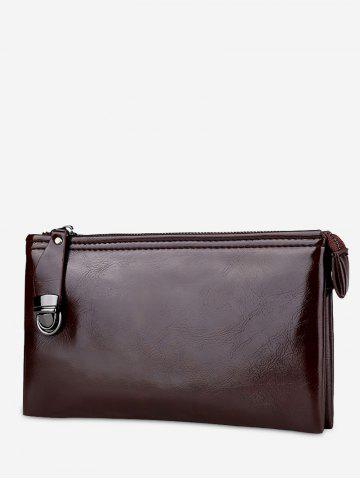 Faux Leather Zip Clutch Bag