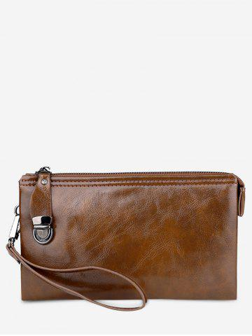 Shop Faux Leather Zip Clutch Bag