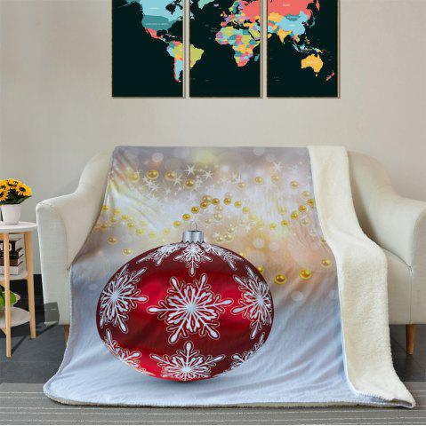 Hot Christmas Ornament Print Soft Fleece Thermal Blanket - W39.4 INCH * L59.1 INCH BLUE GRAY Mobile