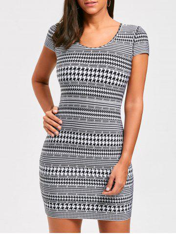 Discount Houndstooth Print Cap Sleeve Bandage Dress