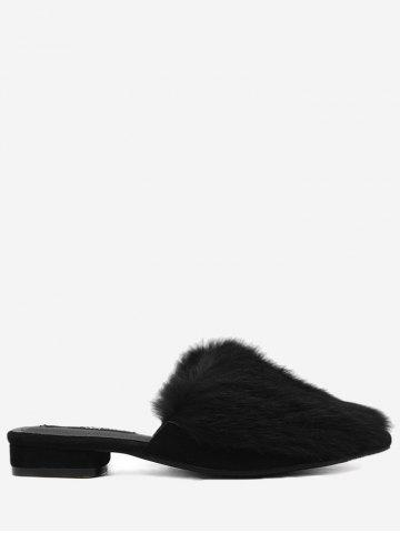 Chic Pointed Toe Low Heel Faux Fur Slippers - 35 BLACK Mobile