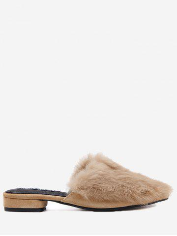 Shop Pointed Toe Low Heel Faux Fur Slippers - 39 BROWN Mobile