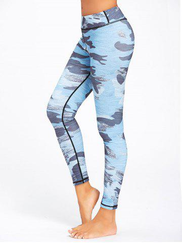 Outfits Sports Camo Printed Ankle Leggings NAVY BLUE S