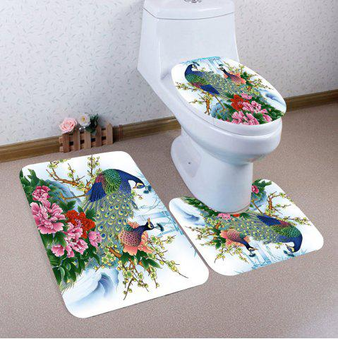 Fashion Flowers Peacock Pattern Nonslip 3Pcs Bathroom Mats Set COLORFUL