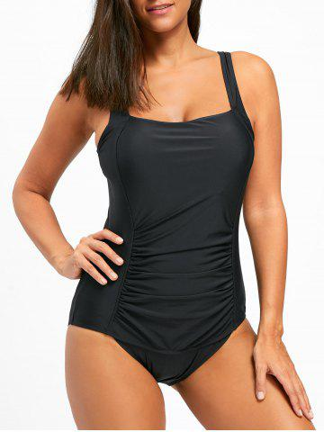 Sale Square Neck One Piece Ruched Swimsuit BLACK L