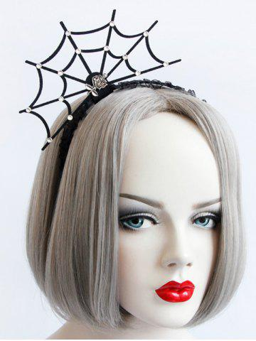 Sale Spider Web Rose Halloween Lace Hairband BLACK