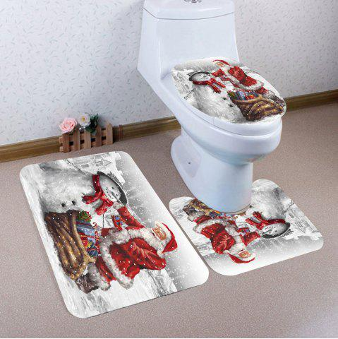 Hot Nonslip Father Christmas and Snowman Pattern 3Pcs Bathroom Mats Set